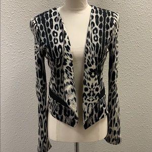 Bebe snow leopard soft open jacket XS